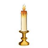 在白色背景隔绝的灼烧的老蜡烛和葡萄酒黄铜烛台 种族分界线艺术 减速火箭的设计 库存图片