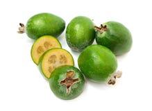 在白色背景隔绝的热带水果feijoa 库存照片