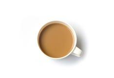 在白色背景隔绝的热的咖啡 图库摄影
