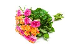在白色背景隔绝的玫瑰花束  库存照片