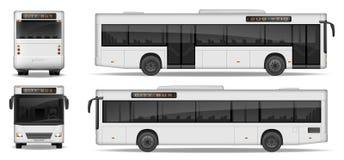 在白色背景隔绝的现实城市公共汽车模板 乘客给的设计做广告城市运输 乘客公共汽车 库存例证