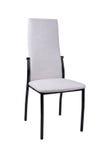 在白色背景隔绝的现代白色灰色椅子 正面图 库存照片