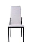 在白色背景隔绝的现代白色灰色椅子 正面图 库存图片