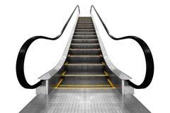 在白色背景隔绝的现代建筑学台阶自动扶梯 库存图片
