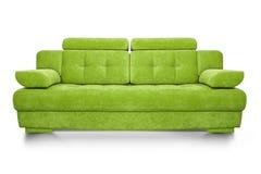 在白色背景隔绝的现代绿色沙发 免版税图库摄影