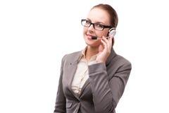在白色背景隔绝的电话中心操作员 免版税图库摄影