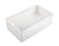 在白色背景隔绝的白色空白的箱子 库存图片