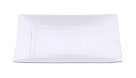 在白色背景隔绝的白色空的板材 裁减路线 免版税库存照片