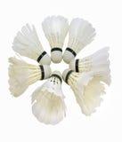 在白色背景隔绝的白色shuttlecock 免版税库存照片