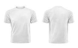 在白色背景隔绝的白色T恤杉设计模板 库存照片