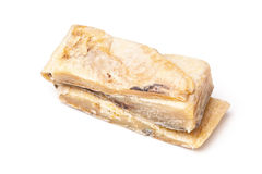 在白色背景隔绝的盐味的鳕或盐渍鳕鱼 库存照片