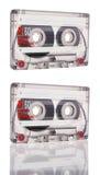 在白色背景隔绝的盒式磁带 库存图片