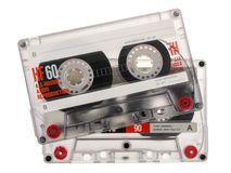 在白色背景隔绝的盒式磁带 库存照片
