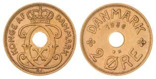 2在白色背景隔绝的矿石1936硬币,丹麦 免版税库存图片