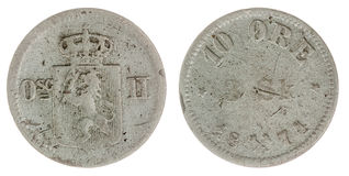 10在白色背景隔绝的矿石1871硬币,挪威 免版税库存照片
