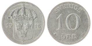 10在白色背景隔绝的矿石1913硬币,瑞典 免版税图库摄影