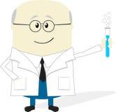 在白色背景隔绝的科学家动画片 库存图片