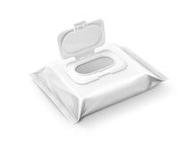 在白色背景隔绝的空白的包装的湿抹囊 免版税图库摄影