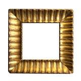 在白色背景隔绝的空白的古色古香的金黄框架 免版税库存图片