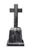 在白色背景隔绝的空白的墓碑准备好题字 免版税库存照片