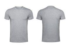 在白色背景隔绝的空白的灰色T恤杉 图库摄影