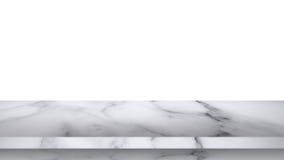 在白色背景隔绝的空的大理石桌 免版税库存照片