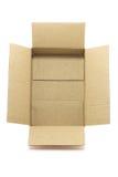 在白色背景隔绝的空的棕色箱子 库存照片