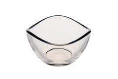 在白色背景隔绝的空的碗玻璃 图库摄影