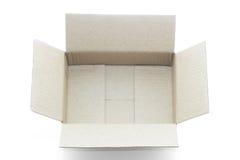 在白色背景隔绝的空的箱子 免版税库存照片