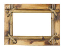 在白色背景隔绝的竹照片框架 库存照片