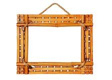 在白色背景隔绝的竹照片框架 免版税图库摄影