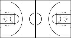 在白色背景隔绝的篮球场 顶视图传染媒介例证 免版税库存照片