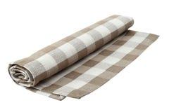 在白色背景隔绝的米黄方格的毛巾 库存图片