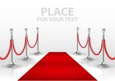 在白色背景隔绝的红色事件地毯 也corel凹道例证向量 免版税库存照片