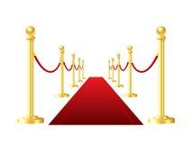 在白色背景隔绝的红色事件地毯 库存照片