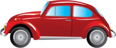 在白色背景隔绝的红色减速火箭的汽车 免版税库存图片