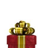 在白色背景隔绝的红色天鹅绒礼物盒 免版税库存照片
