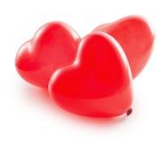 在白色背景隔绝的红色气球心脏 图库摄影