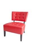 在白色背景隔绝的红色皮椅 免版税库存照片