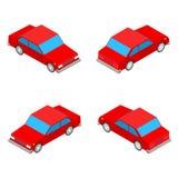 在白色背景隔绝的红色等量小轿车汽车 图库摄影