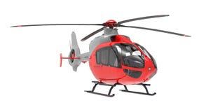 在白色背景隔绝的红色直升机 3d例证 库存图片