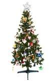在白色背景隔绝的美丽的圣诞树 库存照片