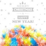 在白色背景隔绝的美丽的圣诞节闪亮金属片 库存图片