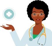 在白色背景隔绝的美丽的非裔美国人的种族妇女医生 库存图片