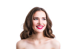 在白色背景隔绝的美好妇女微笑 免版税库存照片