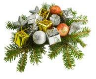 在白色背景隔绝的美好的圣诞节礼物 库存图片