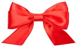 在白色背景隔绝的美好的红色弓 免版税库存图片