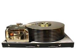 在白色背景隔绝的老减速火箭的开放硬盘驱动器 sta 免版税库存图片