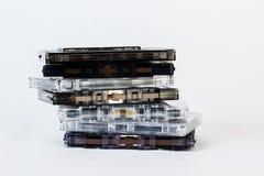 在白色背景隔绝的老卡型盒式录音机 历史reco 库存图片