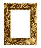在白色背景隔绝的老古色古香的金框架爱 免版税库存图片
